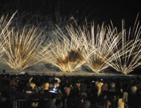 Fuegos Artificiales En Playa De Castelldefels